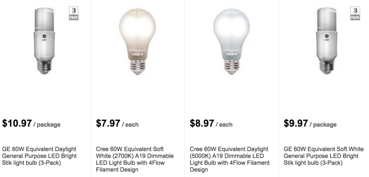 Light Bulb Options from the Home Depot