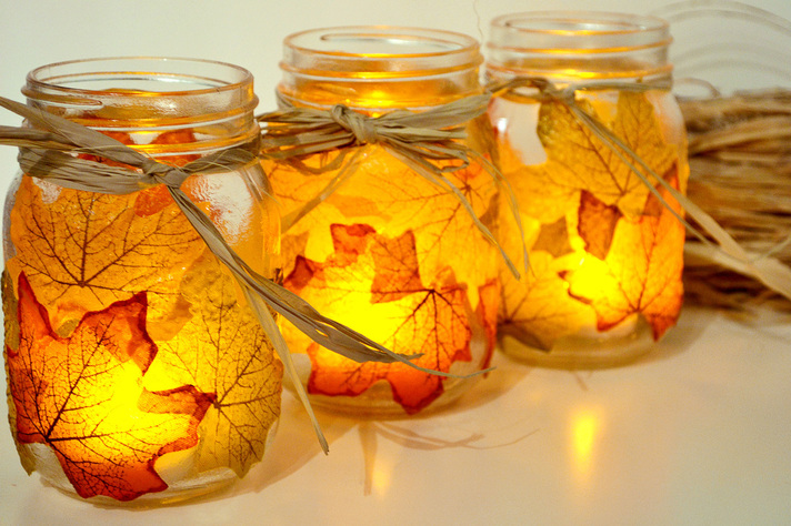 Leaves on Mason Jars