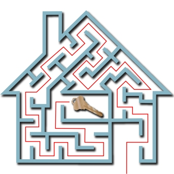 Maze Home Puzzle Solution To House Key With Drop Shadow